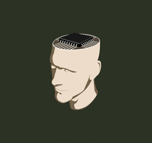 A man with a computer chip inside his head